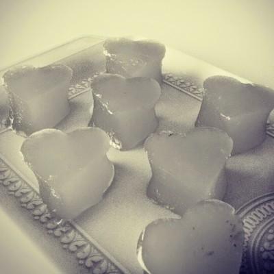 Corações de gelatina de laranja moscatel