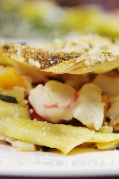 Lasanha caseira de peixe com legumes
